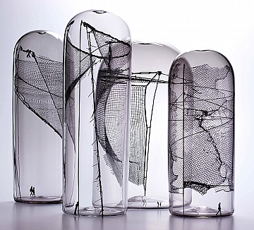 Fence Study #3, 2009. Blown Glass withs creen printed decals 51 cm h x 71 cm w