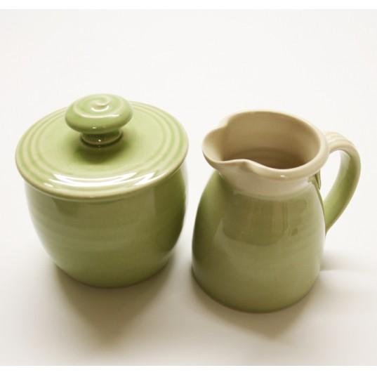 Green Ceramic Cream & Sugar Set