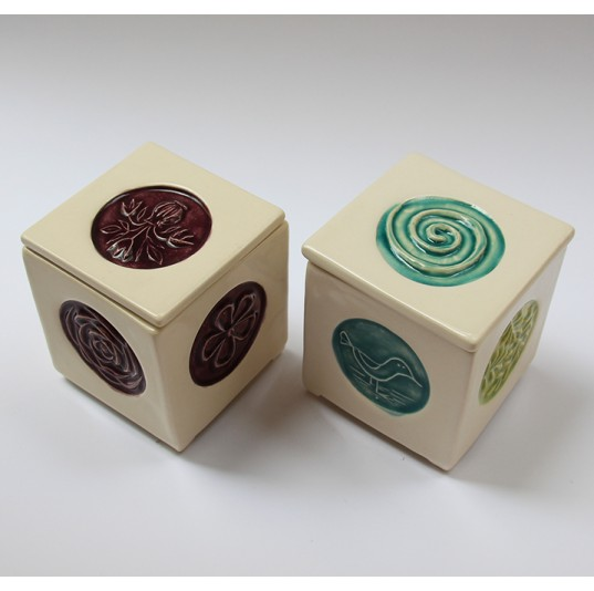 Mini Box Decorated with Plaster Stamp