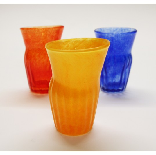 Yellow Glass Ribbed Tumbler