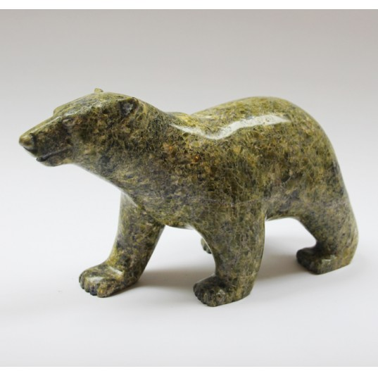 Walking Bear 1259876 - Inuit Serpentine Stone Carving