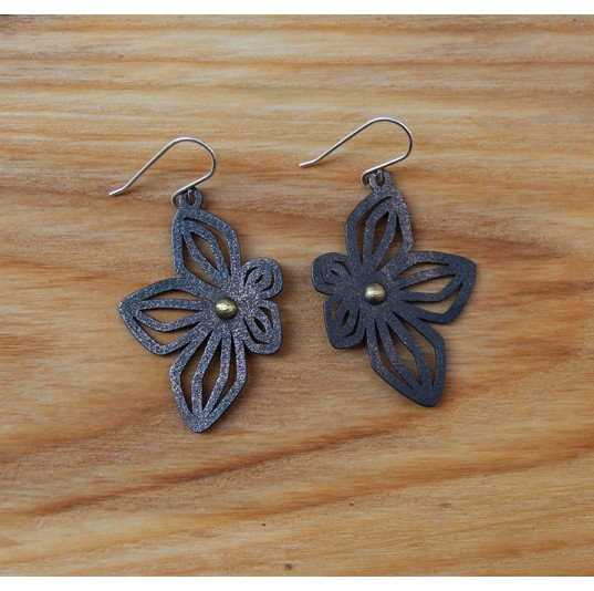 3D Printed Black Steel Flower Earrings