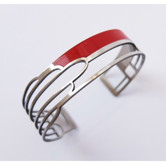 Art Deco Bracelet - Red and Stainless Steel