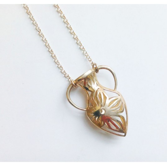 3D Printed Gold Plated Steel Vase Necklace