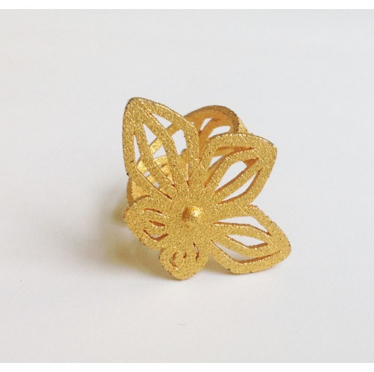 3D Printed Polished Brass Floral Ring