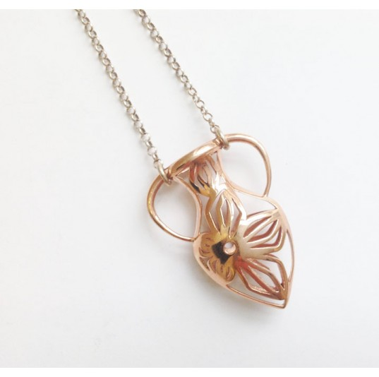 3D Printed Rose Gold Plated Steel Vase Necklace
