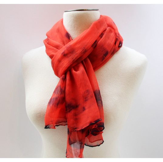Silk Crinkle Chiffon Scarf - Red/Navy