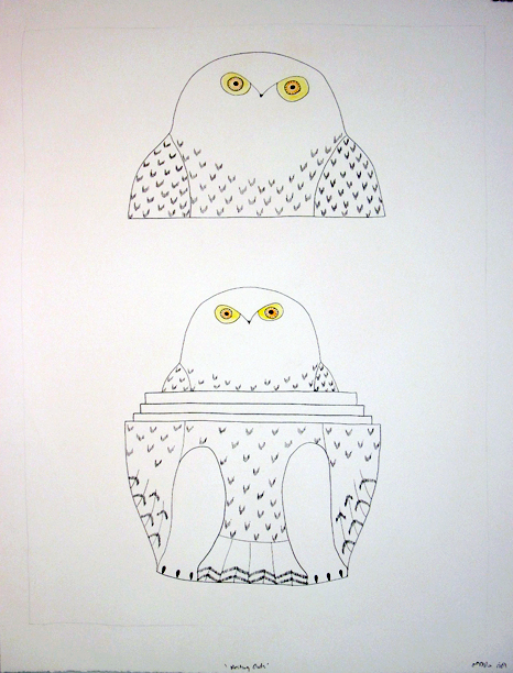 Ningeokuluk Teevee Original Drawing - Nesting Owls