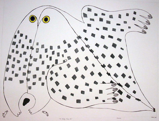 Ningeokuluk Teevee Original Drawing - The Greedy Snowy Owl